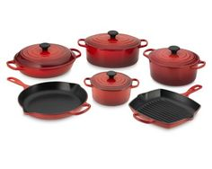 One day you will be mine... I just can't decide if I want the orange or green set!  Le Creuset Signature 10-Piece Cookware Set