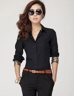 Korean Style Leopard Trim Shirt
