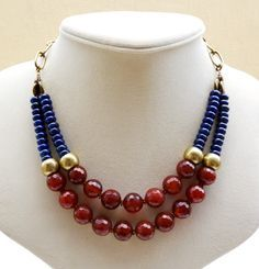 Gorgeous richly toned Carnelian, Brass and Lapis Lazuli Necklace