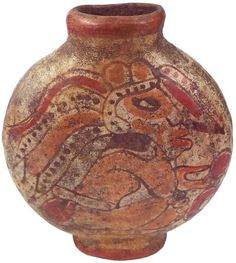 Mayan Culture Pottery : Flask shaped terracotta vessel with a seated warrior in elaborate feathered costume on either side. Traces of brown, red, ivory, and orange. Ancient Beauty, Ancient Art, Tulum, Maya Civilization, Aztec Ruins, Mesoamerican, To Infinity And Beyond, Pottery Making, Archaeology