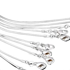 """This is a 10 pack of silver snake chain necklaces with a lobster clasp. 24"""""""
