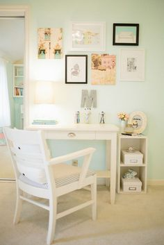 Wall inspo mix of pastel colours with black and white frames more
