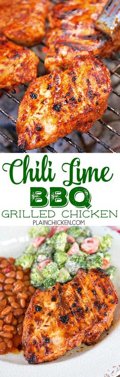 Chili Lime BBQ Grilled Chicken - only 5 ingredients in the marinade - olive oil, BBQ sauce, chili powder, lime juice and salt. Let the chicken marinate in the fridge for a few hours up to overnight. Throw some Bush's Grillin' Beans on the grill with the chicken and dinner is ready in about 15 minutes! SO good! Everyone cleaned their plates!! Making this again this weekend.