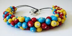 Multicolored beaded necklace blue  red  yellow by EmilyArtHandmade