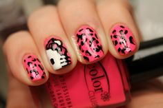 hello kitty with leopard print nail art