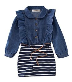 d26b25387 online shopping for StylesILove Little Girl Ruffle Denim Striped Mini  One-piece Tunic Dress Belt from top store. See new offer for StylesILove  Little Girl ...