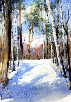 A world wrapped up in a soft white blanket Watercolor Pictures, Watercolor Trees, Watercolor Landscape, Watercolour Painting, Landscape Paintings, Painting Snow, Winter Landscape, Winter Scenes, Beautiful Landscapes