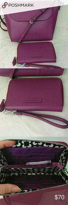 2 pc SET faux leather purse wallet wristlet This is such a cute set by Vera Bradley in plum colored faux leather!  This is a flap crossbody and matching wallet with removable wristlet strap.  Both are made of a solid material that holds its shape well.  Your phone can go in the slip pocket on the back, or one of the two slip pockets inside, or in the wallet.  Small and easy to carry, yet both pieces hold a lot for their size Vera Bradley Bags Crossbody Bags