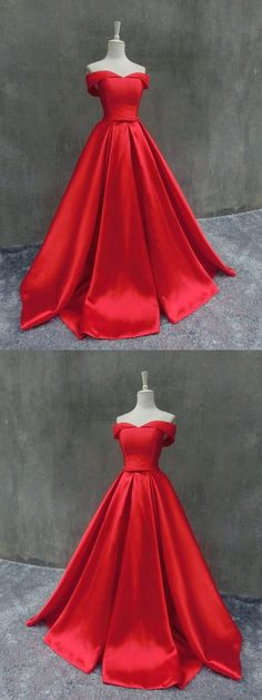 Gorgeous Red Off-the-shoulder Prom Dresses,Sexy Red Long Evening Dress,Prom Dress with Sash