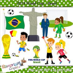 World Cup 2014 Brasil Clipart by RamonaMClipArt on Etsy, $5.99
