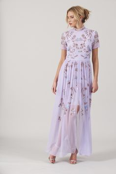 1702c953e Frock and Frill Cambrie Lilac Purple Embroidered Stand Collar Maxi Dress  Purple Wedding Guest Dresses,