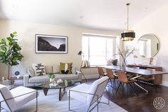 Think modern style can't be warm? Designer Nina Jizhar proves otherwise in a Sunnyvale home, creating an inviting space for two young tech professionals. Modern Spaces, Modern Rugs, Modern Chairs, Wine Credenza, Dining Table Chairs, Dining Rooms, Mid Century Modern Armchair, Modern Side Table, Interior Design