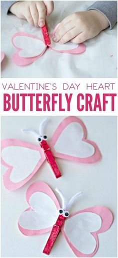 This heart butterfly craft for Valentine's Day is so cute! With heart-shaped wings and red, pink and white colors, the kids will love it.