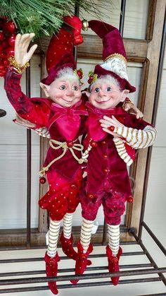 "Set 2 NWT 17"" RAZ Santa ELF Elves Poseable Figurine CHRISTMAS Shelf Sitter Orn #RAZImports"