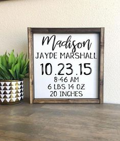 Custom Birth stats Add the birth information in the notes section during checkout Made from quality wood Baby Girls, Baby Boy, Birth Announcement Sign, Birth Announcements, Kids Wood, Diy Signs, Vinyl Projects, Circuit Projects, Wooden Signs