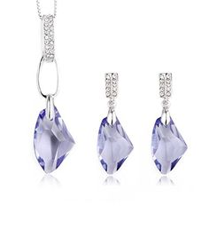 Charmmaster Wishing Stone Purple Crystal Swarovski Elements Pendant Necklace Women Jewelry Set >>> Check this awesome product by going to the link at the image.