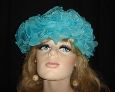 Talking Teal Outrageously Mod 1960s Ruffled Hat by snapitupvintage, $16.00