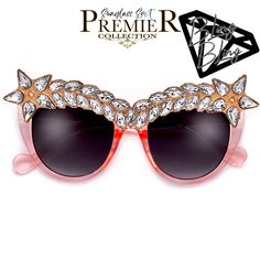 8b9f4774156a5 Premier Bling Bling Collection-Glimmering Browline Crystals Showstopping Cat  Eye Sunnies. Sunglass Frames ...
