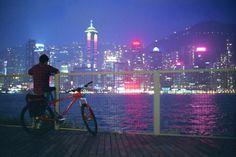 city night lights landscape buildings