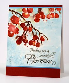 "I think these  berries might be one of my favourite stamps from the new ""Season's Greetings"" release from Penny Black. I opted once again for a watercolour design when creating this card starting w..."