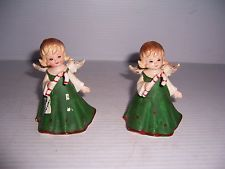 VINTAGE SET OF 2 LEFTON CHINA CHRISTMAS ANGEL GIRL HOLDING CANDY CANE FIGURINES