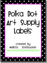 cute art, math, and supply labels