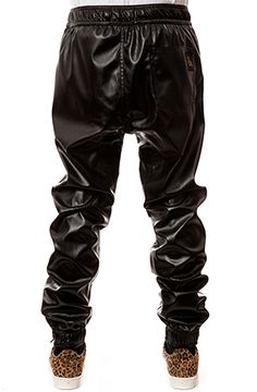 The Rich Drop Crotch Perforated Leather Joggers in Black by S
