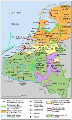 Les Pays-Bas, 1555-1648 La région que nous étudions. © Archives Larousse #Netherlands #carte Countries Europe, Imaginary Maps, European Map, Thirty Years' War, Aquitaine, Historical Maps, Light And Shadow, 16th Century, Family History