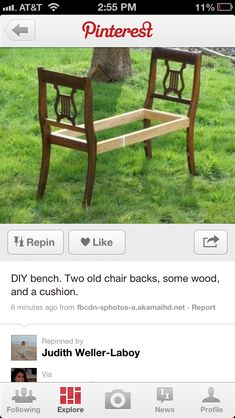 Two old chairs repurposed to be a bench Diy Furniture Cheap, Diy Furniture Projects, Repurposed Furniture, Furniture Makeover, Home Furniture, Diy Projects To Try, Home Projects, Diy Bench, Chair Bench