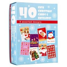 A bumper assortment of cute Christmas card, with eight different designs 19x13 cm approx