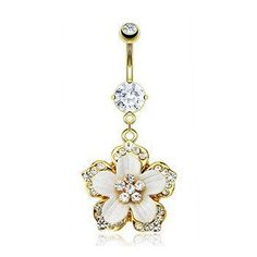 14 GA Rose Gold Opal Chrysanthemum Flower Non Dangle Belly Button Ring Davana Enterprises Sold Individually Rose Gold Plated