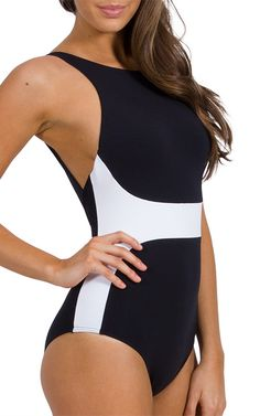 Jets, by Jessica Allen   High Neck Swimsuit in black and white