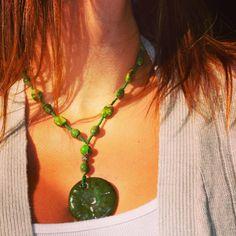 Gorgeous Greens Round Ceramic Pendant by uniquebeadingbyme  #green #statementnecklace #ceramicpendant