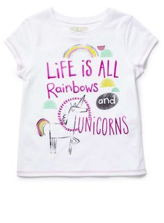 Girls White Unicorn Tee