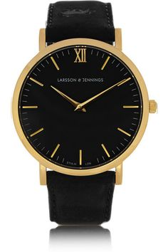 Larsson & Jennings | Läder suede and gold-plated watch | NET-A-PORTER.COM