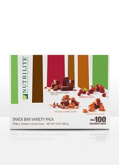 NUTRILITE® Snack Bars – Variety Pack  16 bars (4 of each flavor); Snack bars are rich with flavor and only 100 calories per bar.  NUTRILITE Snack Bars replace unhealthy snacks with delicious gourmet treats that are just 100 calories! You'll satisfy your sweet tooth and easily control calories with delicious snack bars that contain no artificial colors, flavors, or preservatives.