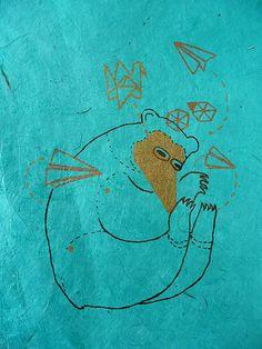 Origami bear, by Emma Kidd (aka benconservato), a gocco print on aqua rice paper