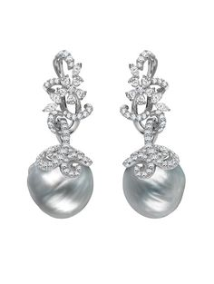 Mikimoto Regalia Arabesque Earrings, White South Sea Baroque cultured pearls and 4.04ct of diamonds, set in 18k white gold
