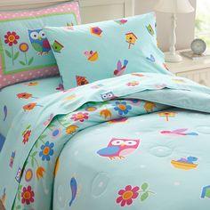 Blue Pink Owl Bedding for Girls Twin Full/Queen Comforter Set Birds Flowers Butterflies Bedspread