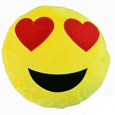 12x12 Yellow Girls Heart Eyes Emoji Theme Throw Pillow Cute Fun Smiley Faces Embroidered Sofa Pillow Pretty Happy Love Funny Emotions Emojis Soft