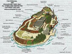 "Map of Alcatraz, ""The Rock"" off of San Francisco, California"