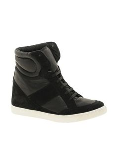 Kinda dying to try out this whole high-heeled high-top trend... hmmmmm  Enlarge ASOS DENY Wedge High Top Sneakers With Suede Detail