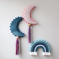 Teal Crescent Moon Velvet Art Wall Hanging with Tassel Childrens room Macrame Wall Hanging Diy, Hanging Wall Art, Diy And Crafts, Arts And Crafts, Pink Moon, Macrame Projects, Cotton Velvet, Mobiles, Babies Rooms