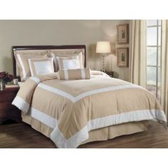 7 Pieces Champagne and White Hotel Block Embossed Leaf Comforter Bed-in-a-bag Set California-cal King Size Bedding
