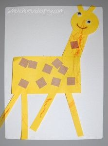 Toddler Craft: Giraffe.  Very basic craft for young hands emphasizing shapes and color (yellow).