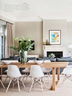 Est Magazine #6-pinkish curtains, brown walls and grey sofa