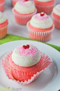 Lemon Sugar   Pink Velvet Cupcakes   http://lemon-sugar.com