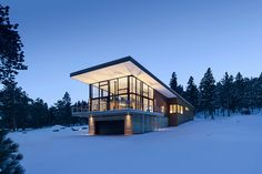 replaced a small stone cabin with a contemporary net-zero energy retreat in the Rocky Mountains. Modern Lodge, Mountain Modern, Copper Mountain, Mountain Homes, Mountain Landscape, Modern Rustic, Residential Architecture, Modern Architecture, Stone Cabin