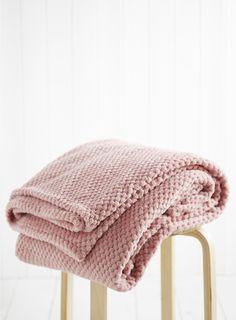 Rose Pink Waffle Fleece Throw - BHS