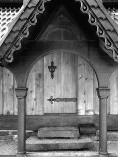 Detail of a door at Fantoft Stave Church in Bergen.
